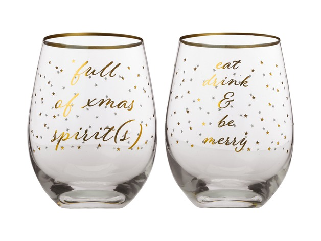 Maxwell & Williams Celebrations Stemless Glasses - Xmas Spirit / Drink & Be Merry