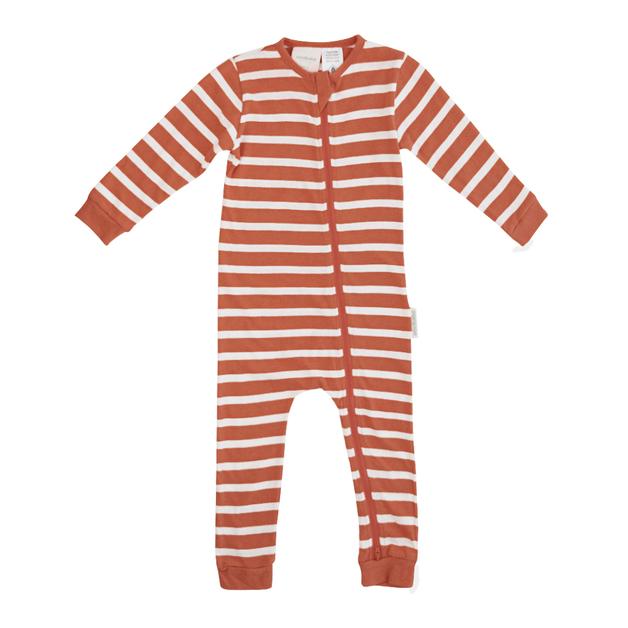 Woolbabe: Merino/Organic Cotton PJ Suit Lava Stripe - 3-6 months