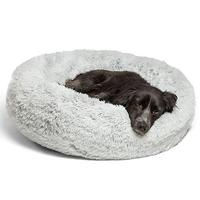 Ape Basics: Long Plush Warm Round Pet Bed - Light Gray (Medium)