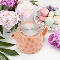 Pinky Up: Harper - Ceramic Teapot & Infuser (Peach/Copper)