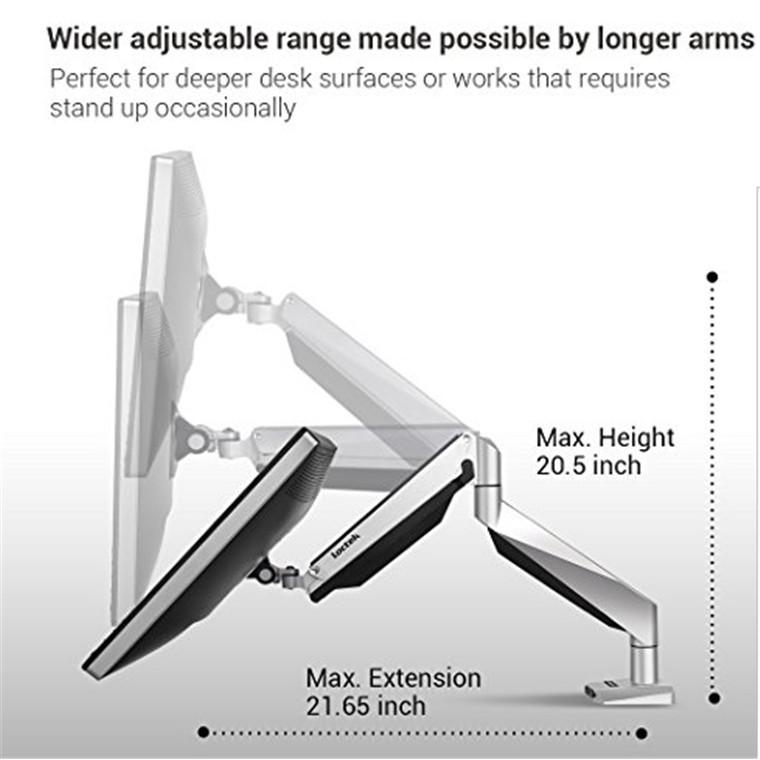 """Loctek D7H 10""""-34"""" Single Monitor Gas Spring Arm Desk Mount - Black image"""