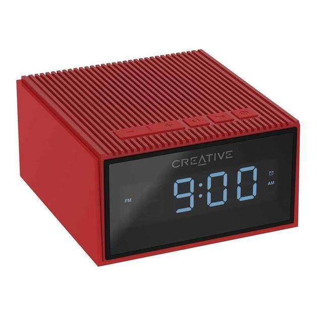 Creative Chrono Wireless Bluetooth Speaker and FM radio clock - Red