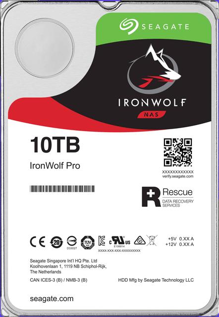 "10TB Seagate IronWolf Pro 3.5"" 7200RPM SATA NAS HDD"
