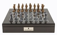 "Dal Rossi: Medieval Warriors - 16"" Pewter Chess Set (Carbon Fibre)"