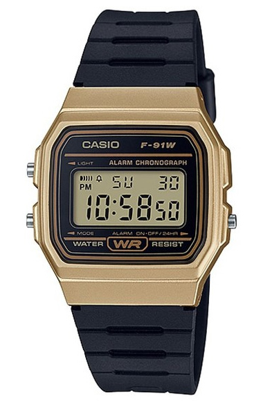 Casio Youth Vintage Series Watch Gold/Black - F-91WM-9ADF
