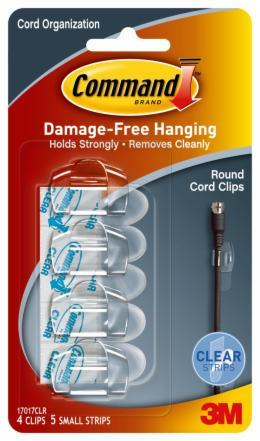 Command Clear Round Cord Clips with Strips (4 Pack)