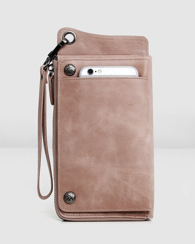 Belle and Bloom: Penelope Leather Wallet - Dusty Rose