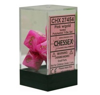 Chessex: Vortex Polyhedral Dice Set - Pink/Gold