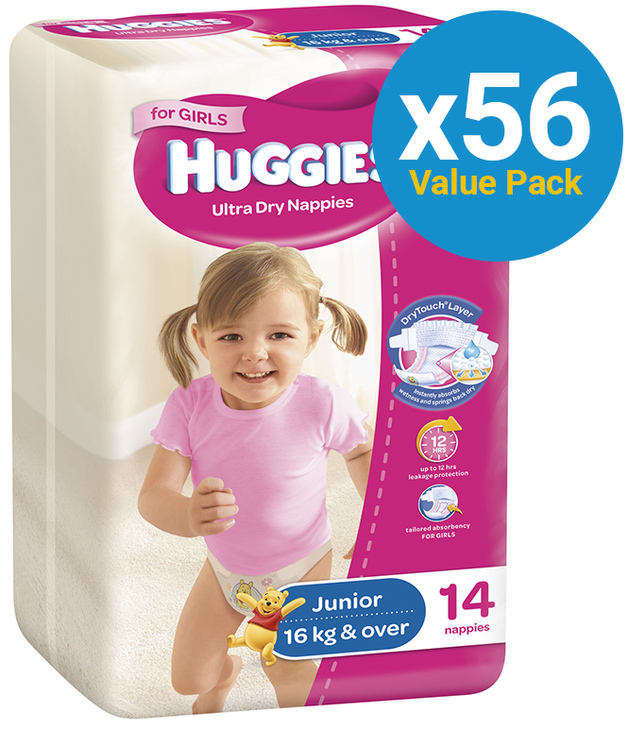Huggies Ultra Dry Nappies Convenience Value Box - Size 6 Junior Girl (56)