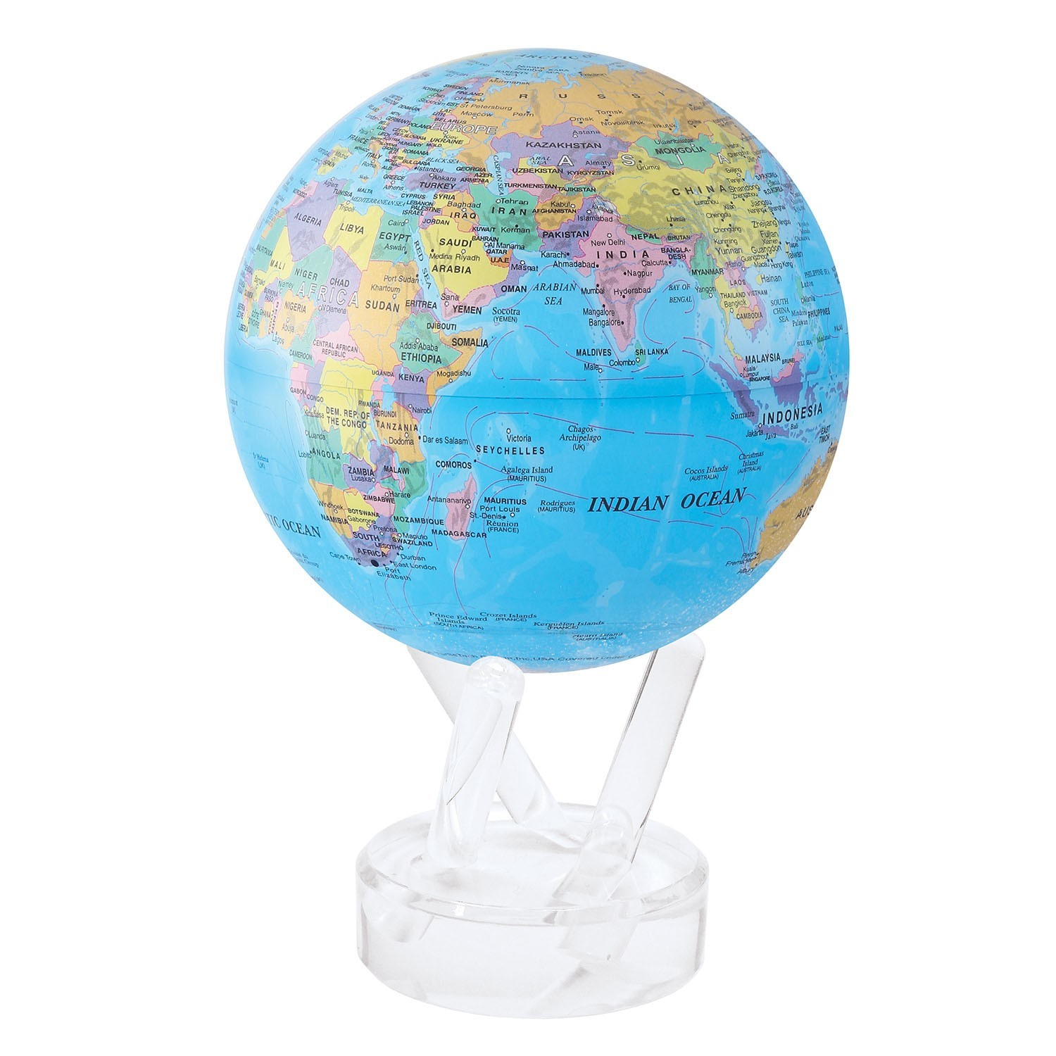 MOVA Self-Rotating Globe Blue with Political Map image