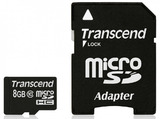 8GB Transcend - microSDHC Card with SD Adapter (Class 10)