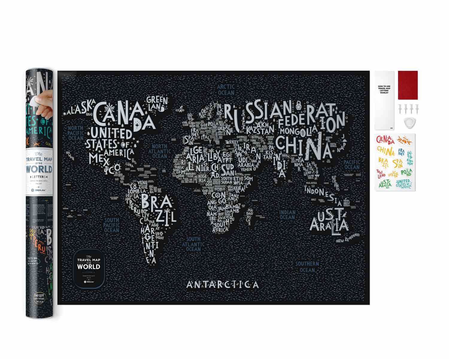 Scratch-off maps Travel Map Letters World image
