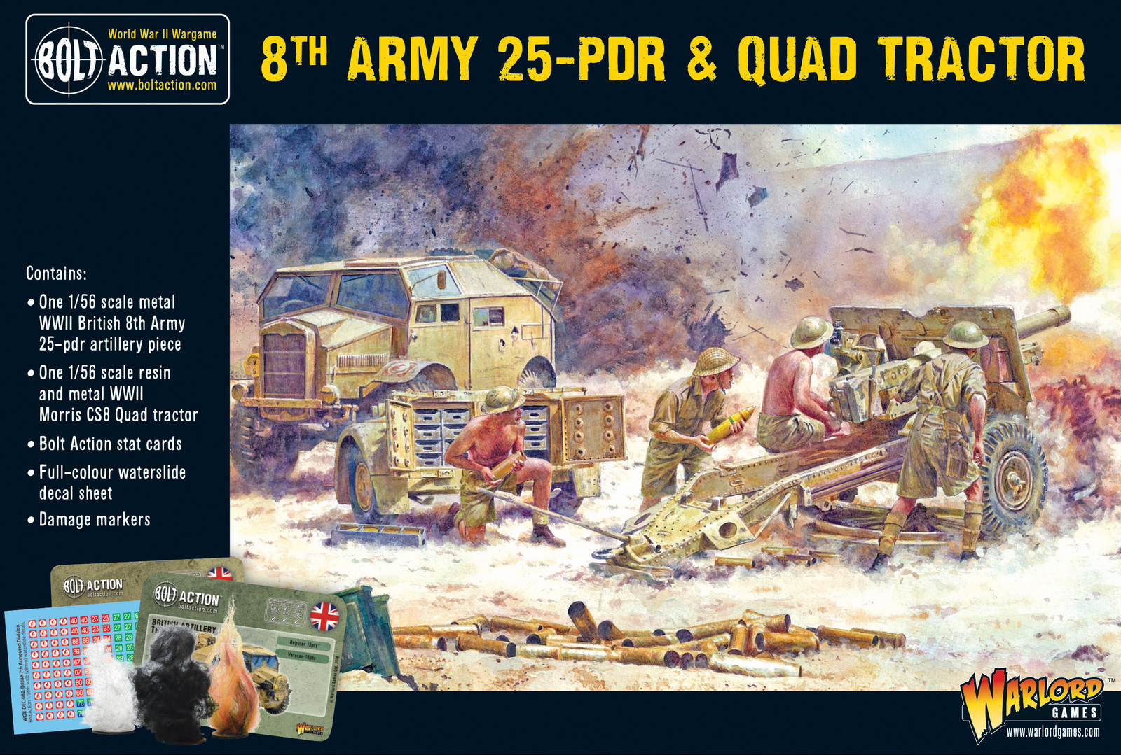 8th Army 25 Pounder Light Artillery, Quad & Limber image