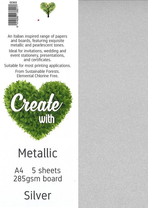Metallic Board A4 285gsm - Silver (5 Pack)