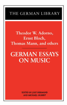 German Essays on Music by ADORNO