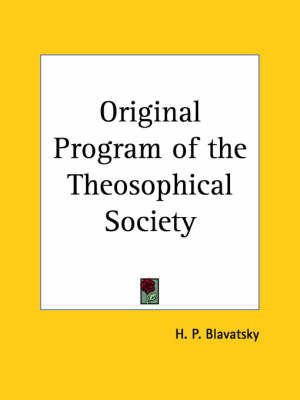 Original Program of the Theosophical Society (1931) by H.P. Blavatsky image