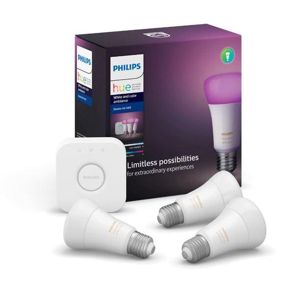 Philips Hue 9W A60 LED Bulb 3 Piece Starter Kit - Colour/White (E27)
