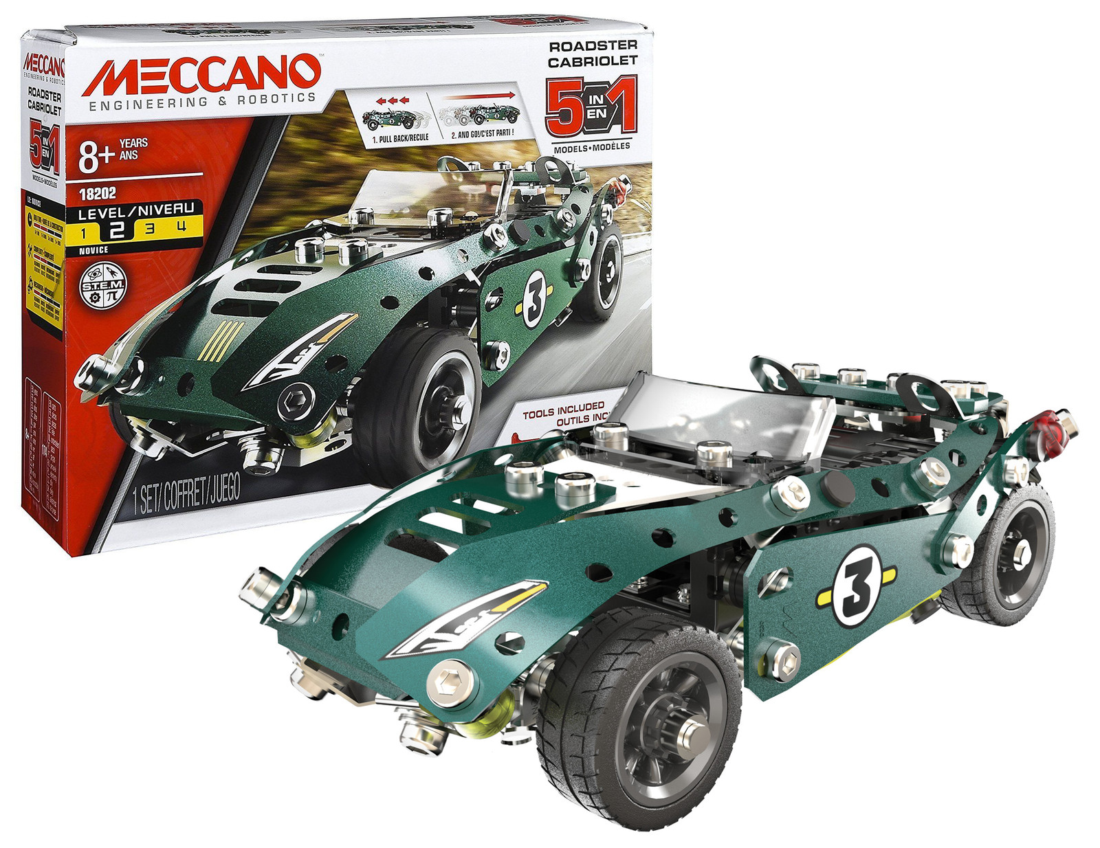 Meccano 5 In 1 Roadster Pull Back Car Toy At Mighty Ape Nz