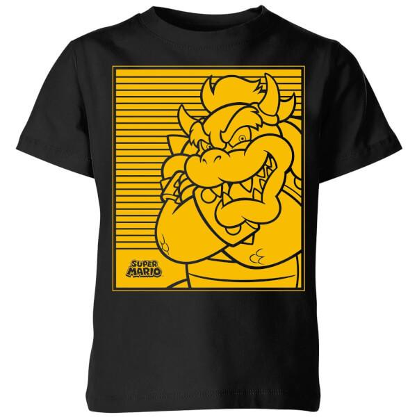 Nintendo Super Mario Bowser Retro Line Art Kids' T-Shirt - Black - 9-10 Years image