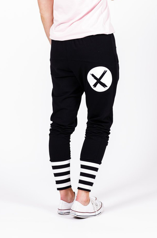 Home-Lee: Apartment Pants -Black With White X Spot Print And Stripe Cuffs - 10