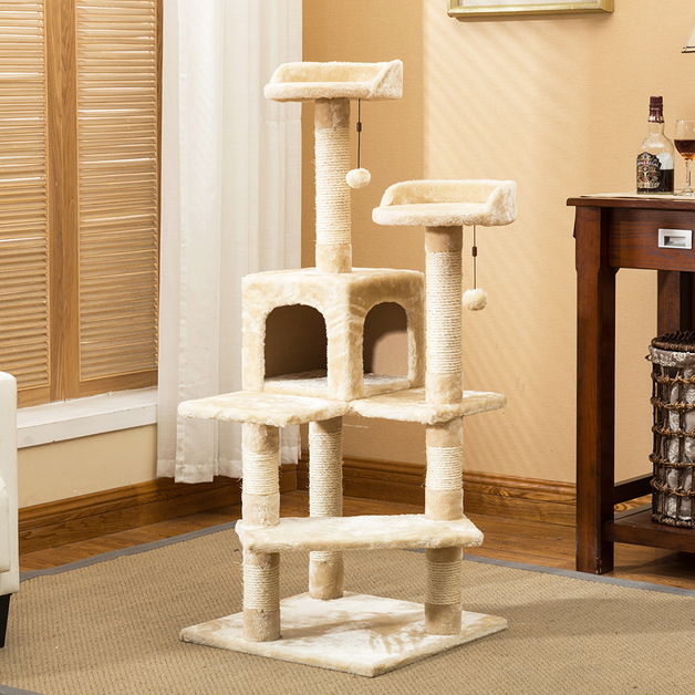 Cat Tree City Cat Tree City (5 Levels) 1.3M With Snuggle House - Beige / White