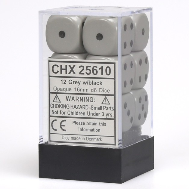 Chessex: D6 Opaque Cube Set (16mm) - Grey/Black
