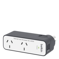 Belkin - 2 Outlet USB International Travel Surge Protector