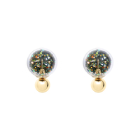 Short Story: Fantasy Bubble Earrings Confetti Green Gold Stud