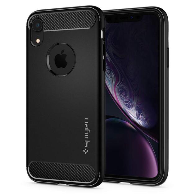 Spigen: iPhone XR Rugged Armor Case - Matte Black/Carbon Fiber