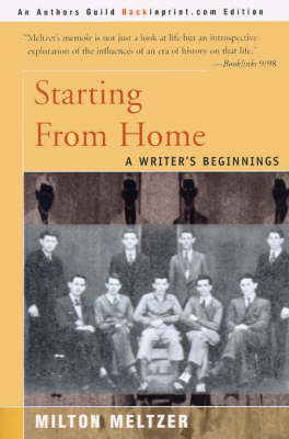 Starting from Home: A Writer's Beginnings by Milton Meltzer image