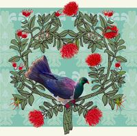 Jane Galloway: Christmas Kereru - Greeting Card