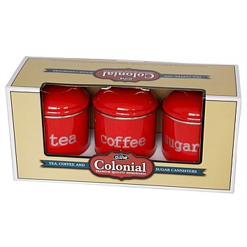 Tea/Sugar/Coffee Canisters 3 Set - Red image