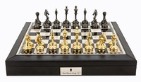 "Dal Rossi: Staunton Brass/Titanium - 18"" Chess Set (PU Brown)"