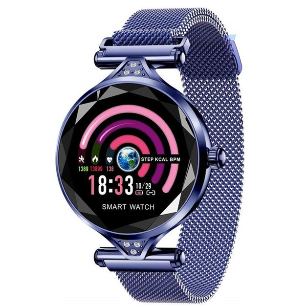 Smart Watch with Heart Rate & Blood Pressure Monitor - Blue