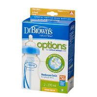 Dr Brown's 270ml Feeding Bottle with Level 1 Teat - Wide Neck - 2 Pack (Blue)