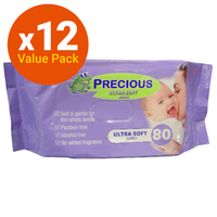 Precious - Ultra Soft Baby Wipes Bulk Pack (80 Wipes - Carton 12)
