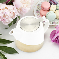 Pinky Up: Harper - Ceramic Teapot & Infuser (Gold Dipped)