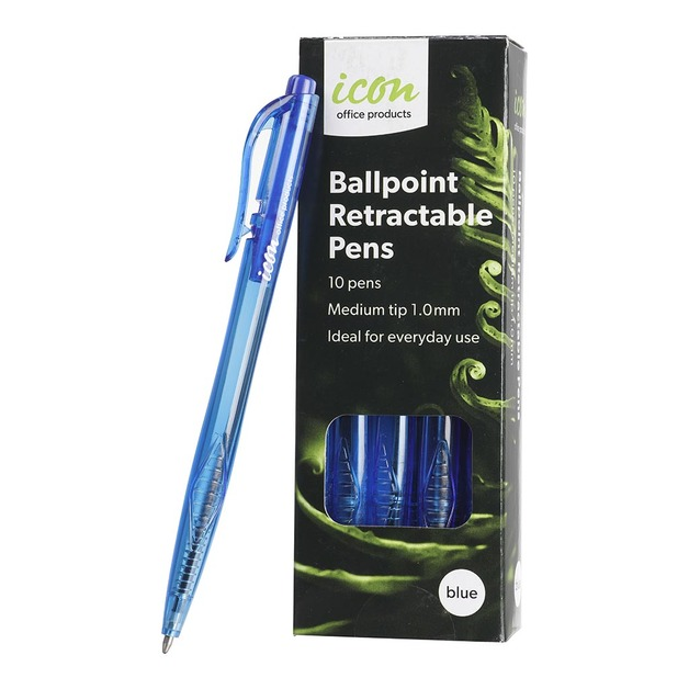 Icon: Ballpoint Retractable Pens - Medium Blue (Pack 10)
