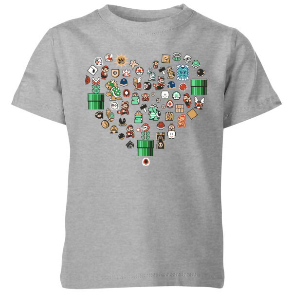 Nintendo Super Mario Pixel Sprites Heart Kids' T-Shirt - Grey - 9-10 Years