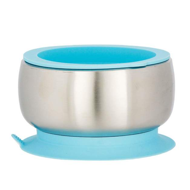 Avanchy: Stainless Steel Suction Baby Bowl + Lid - Blue