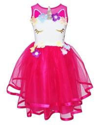 Pink Poppy: Unicorn Dress - Hot Pink (Size 3/4)