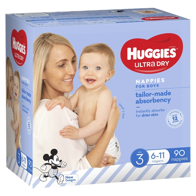 Huggies Ultra Dry Nappies Jumbo Pack - Size 3 Crawler Boy (90)