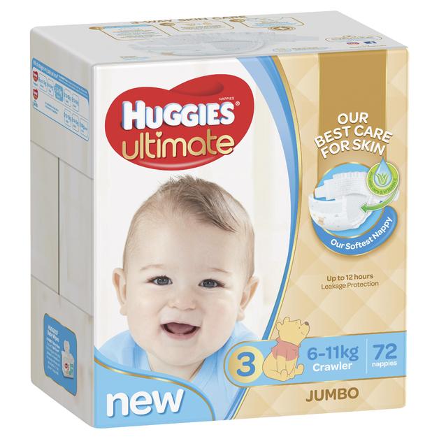 Huggies Ultimate Nappies: Jumbo Pack - Crawler Boy 6-11kg (72)