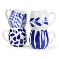 Hug Me Mugs - Indigo Brush (Set 4)