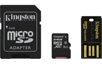 64GB Kingston - MicroSDXC Mobility Kit (Memory Card/SD Adapter/USB reader) (Class 10)