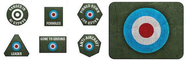 Flames of War: British LW Tokens (x20) & Objectives (x2)