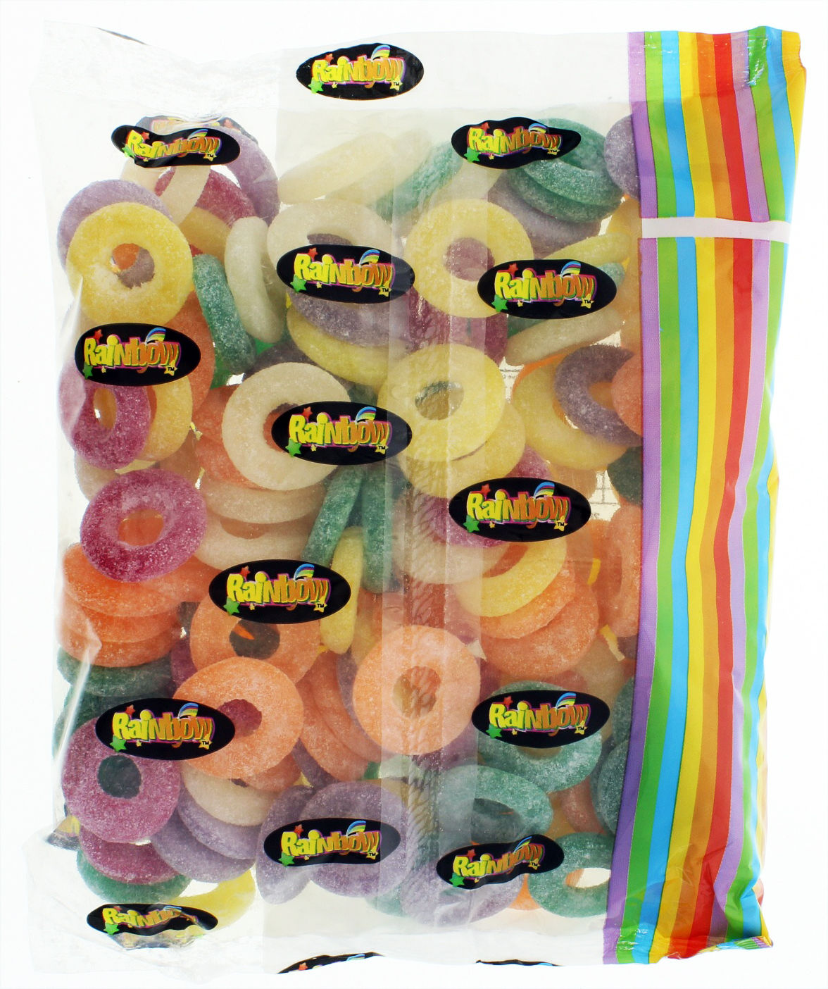 Rainbow Confectionery Fruit Rings Lollies Bulk Bag 1kg image