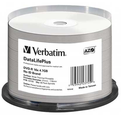 Verbatim DVD-R 4.7GB 50Pk White Wide Thermal 16x