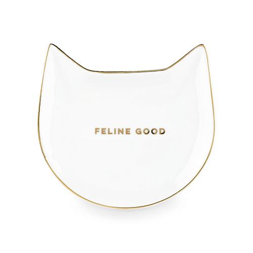 Pinky Up: Feline Good - White Cat Tea Bag Tray