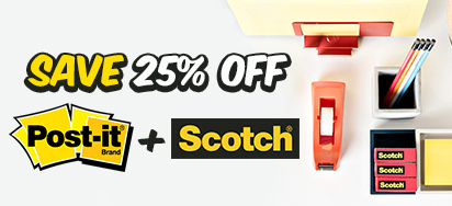 25% off Post-it & Scotch